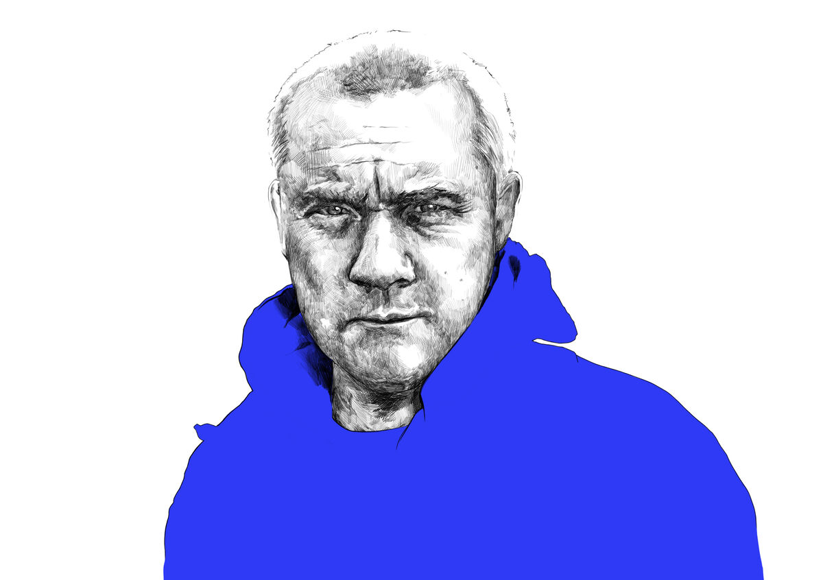 Illustration of Damien Hirst by Rebecca Strickson for Artsy, based on a photograph by Anton Corbijn.