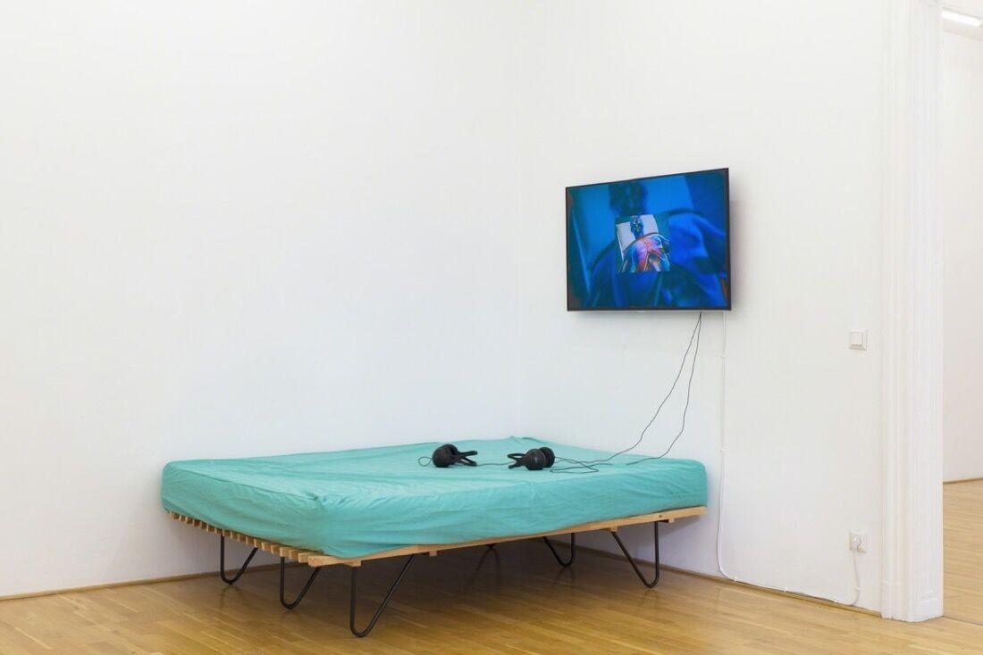 Sidsel Meineche Hansen, Rehearsals in Instability, exhibition view, Galerie Andreas Huber, Vienna, 11.9.20151. – 7.11.2015, Photo: Stefan Lux, Courtesy Galerie Andreas Huber, Vienna.