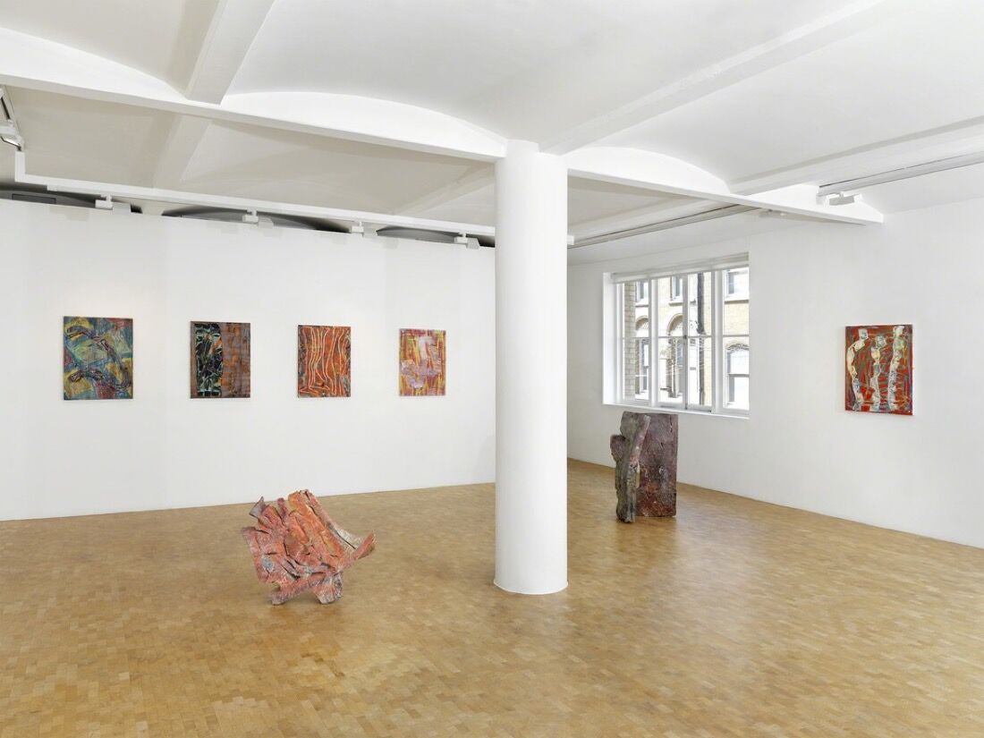 "Installation view of ""Gabriel Hartley: Lozenges,"" courtesy Pippy Houldsworth Gallery."