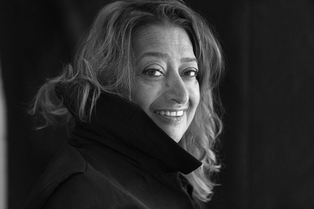 Zaha Hadid by Brigitte Lacombe. Image courtesy David Gill Gallery.
