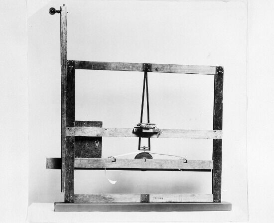 Morse's 1837 telegraph receiver prototype, built with a canvas-stretcher. Image: Smithsonian Institution Archives