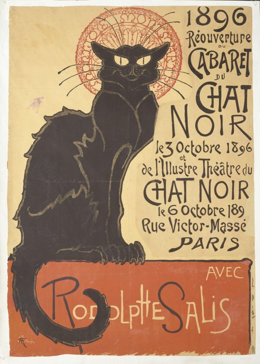 Théophile-Alexandre Steinlen, Réouverture du cabaret du Chat Noir, 1896. © Victoria and Albert Museum, London. Courtesy of the Victoria and Albert Museum.