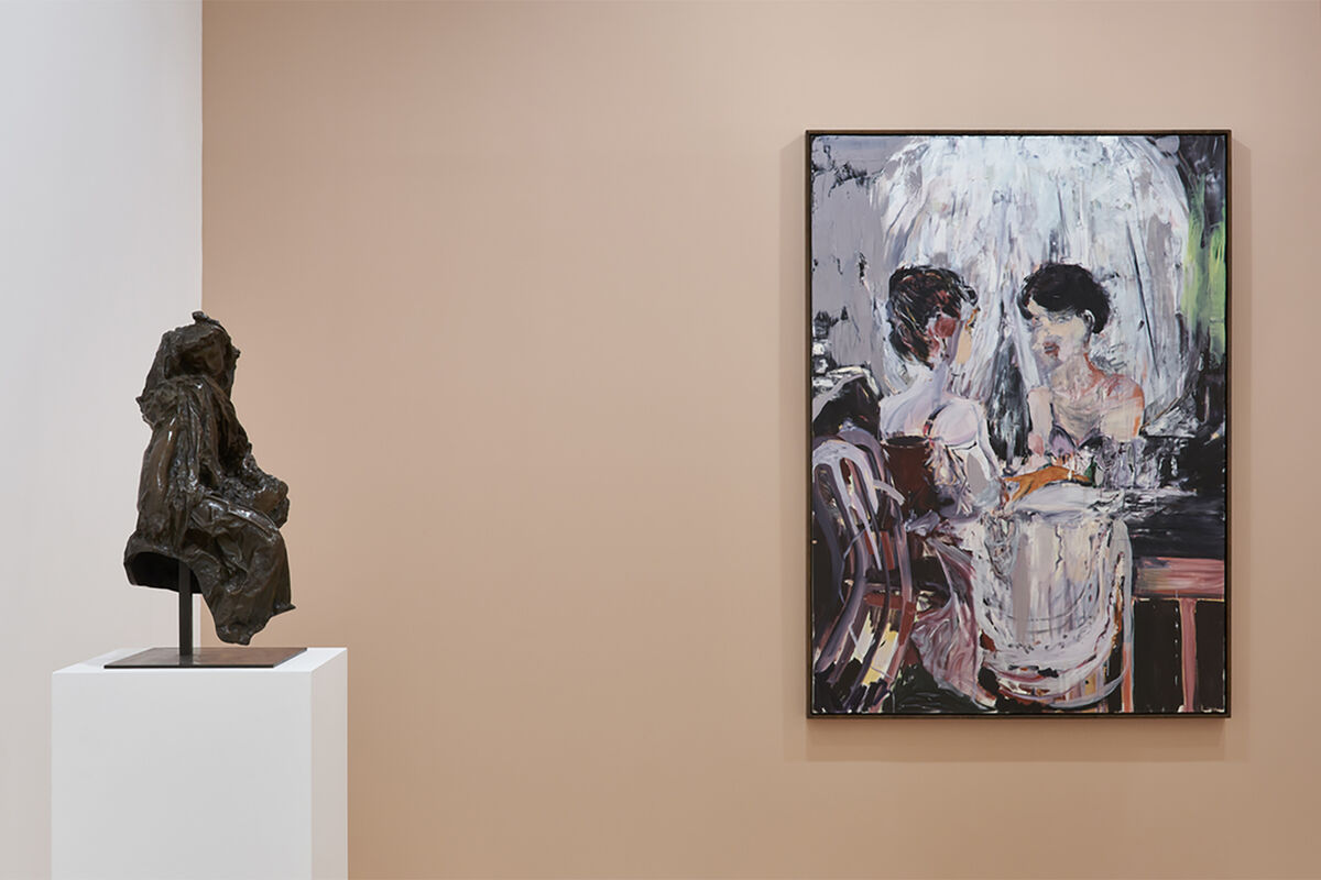 """Installation view of works by Auguste Rodin and Cecily Brown in """"Bustes de Femmes"""" at Gagosian, 2020. © Musée Rodin. © Cecily Brown. Photo by Thomas Lannes. Courtesy of Gagosian."""