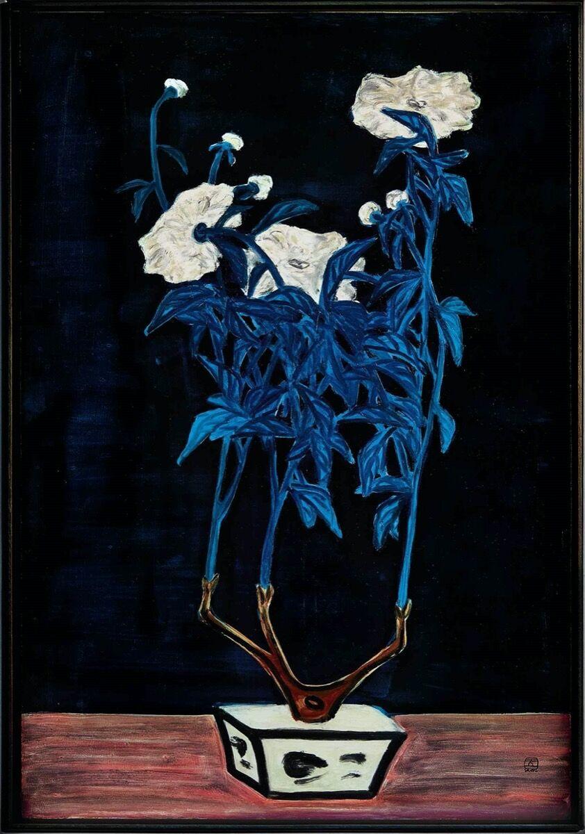 Sanyu, Fleurs dans un pot bleu et blanc, 1950s. Courtesy of Sotheby's.