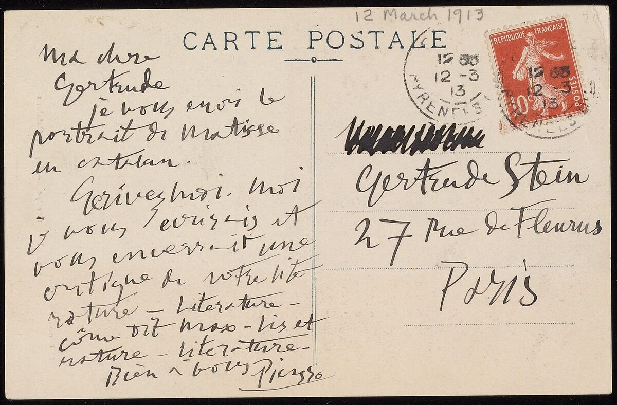 Letter from Pablo Picasso to Gertrude Stein. © 2017 Estate of Pablo Picasso/Artists Rights Society (ARS), New York. Courtesy of Beinecke Rare Book and Manuscript Library.