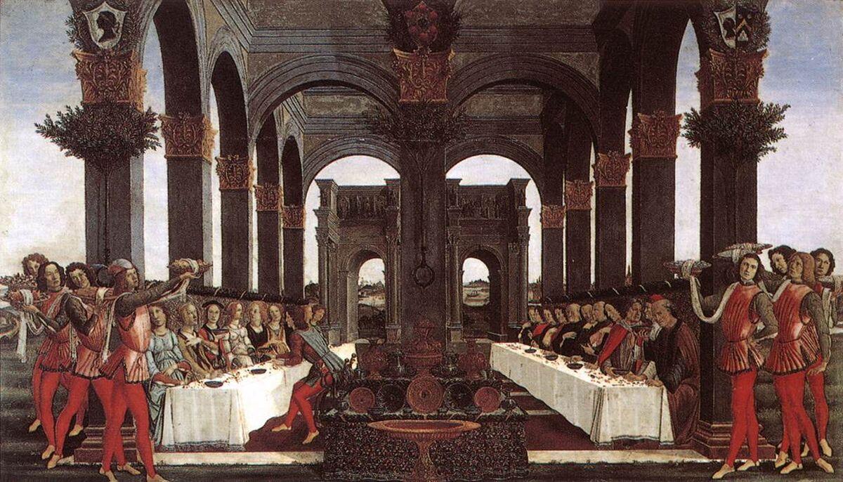Sandro Botticelli, La historia de Nastagio degli Onesti IV, ca.  1483. Imagen a través de Wikimedia Commons.