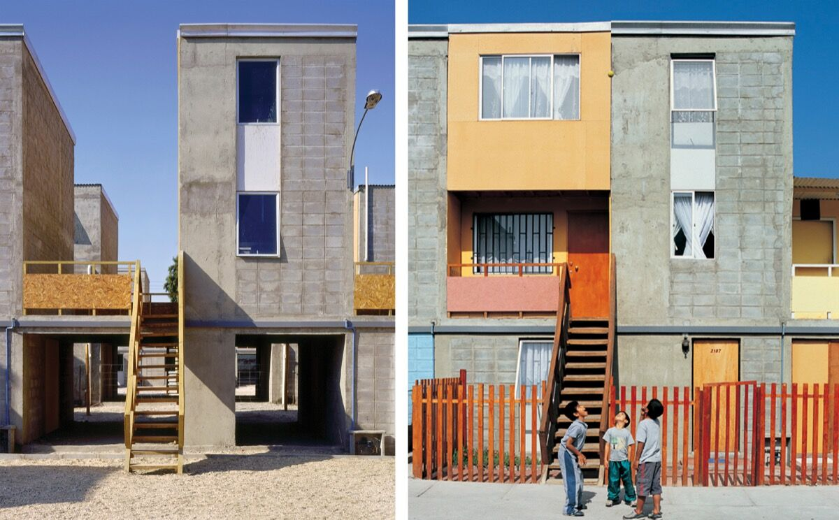"""Quinta Monroy Housing, 2004, Iquique, Chile. Photos by Cristobal Palma — Left: """"Half of a good house"""" financed with public money. Right: Middle-class standard achieved by the residents themselves. © Elemental. Courtesy of Elemental."""