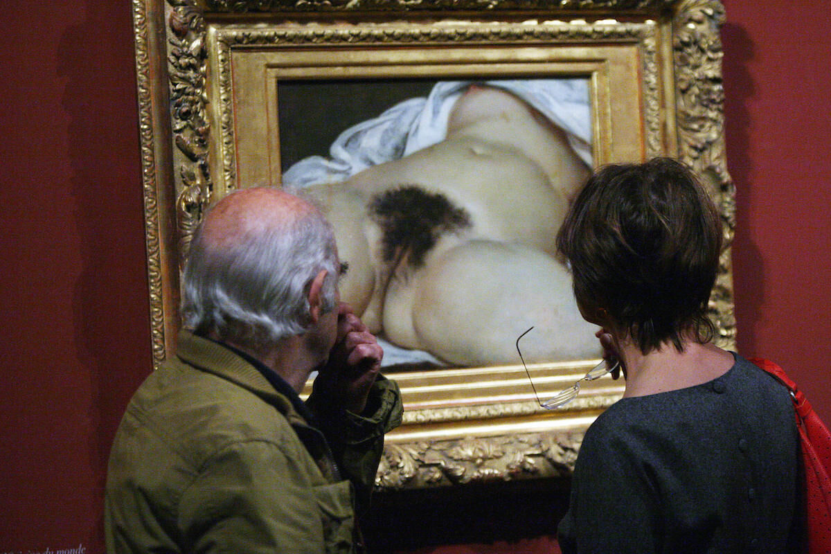 Visitors to the Musée d'Orsay look at Gustave Courbet's L'Origine du Monde. Photo by Thomas Coex/AFP/Getty Images