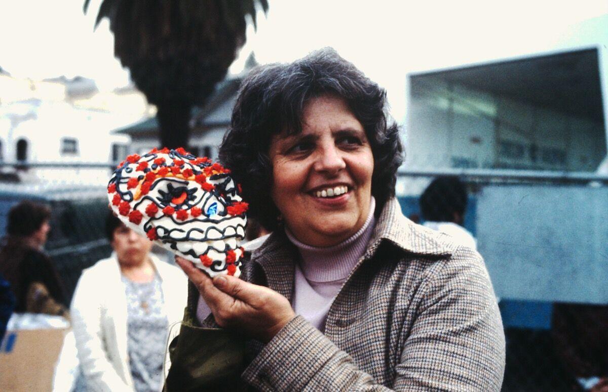 Sister Karen celebrating Dia de los Muertos, 1978. Courtesy of Self Help Graphics & Art.