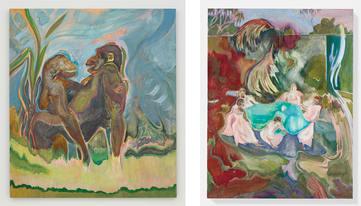 Left: Michael Armitage, Lucy (2015).© Michael Armitage. Image © White Cube (George Darrell); Right: Michael Armitage, Mpeketoni (2015).© Michael Armitage. Image © White Cube (Prudence Cuming Associates Ltd).