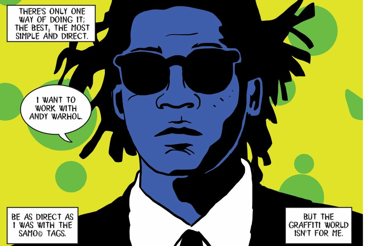 Artwork from Paolo Parisi, In Basquiat: A Graphic Novel , 2019. © Paolo Parisi. Courtesy of Lawrence King.