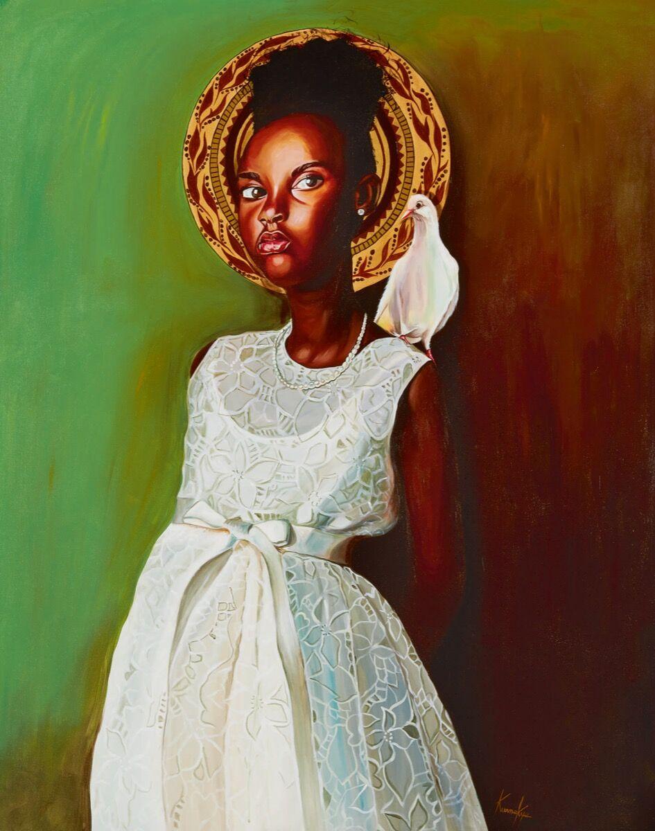 Otis Kwame Kye Quaicoe, Girl in White Dress, 2018. Courtesy of Sotheby's.