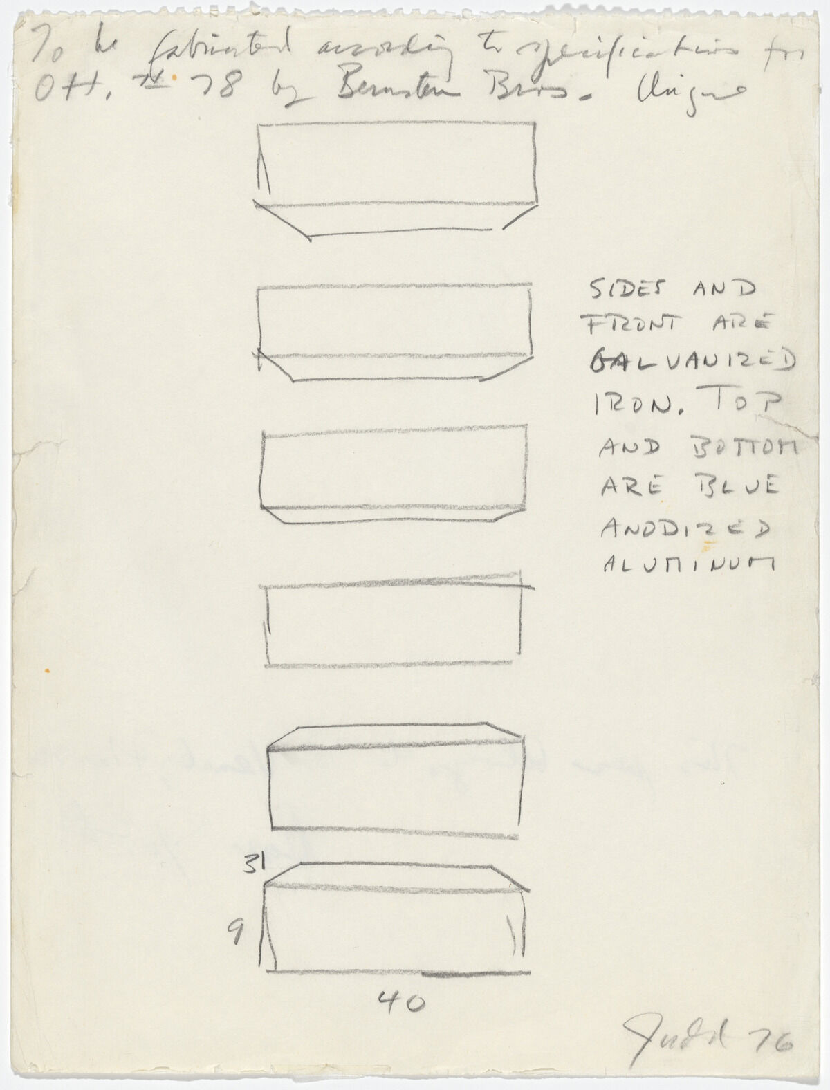 Donald Judd, Instruction Drawing for Otterlo Show Wall Sculpture, 1976, pencil on paper. Gift of the Gilbert B. and Lila Silverman Instruction Drawing Collection, Detroit. © 2019 Judd Foundation / Artists Rights Society (ARS), New York.