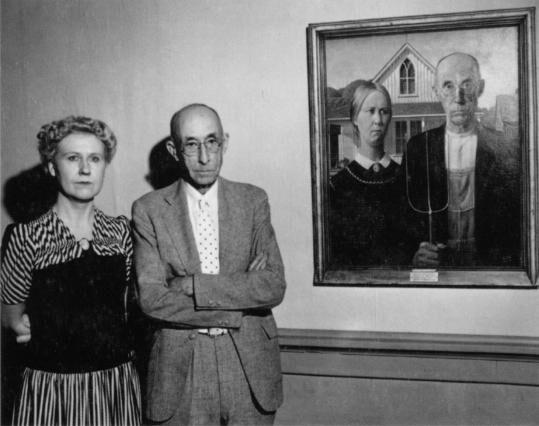 Unknown photographer, Nan Wood Graham and Dr. B.H. McKeeby next to American Gothic, 1942. Courtesy of the Cedar Rapids Museum of Art Archives.