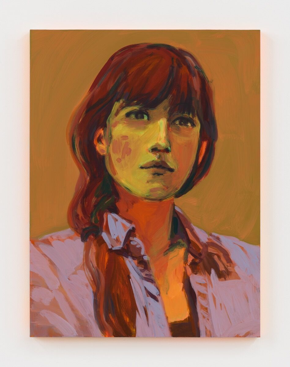Claire Tabouret, Self-portrait (orange), 2020. Courtesy of the artist and Jordan Schnitzer Museum of Art.