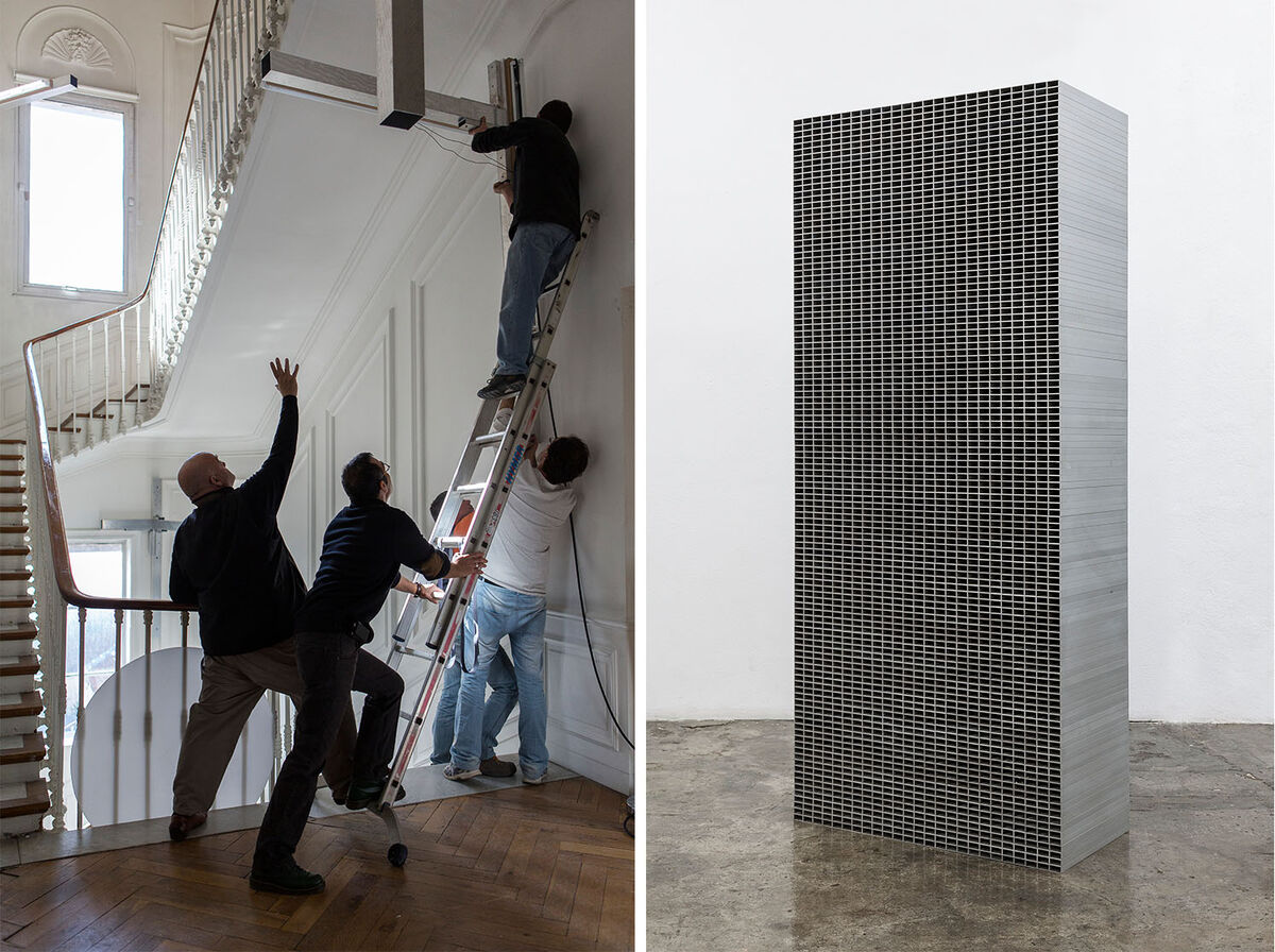 Left: Pedro Cabrita Reis, Installation of the artwork. Right: Compound #5, 2006. Both images © PCRSTUDIO / João Ferro Martins, courtesy Kewenig, Berlin.