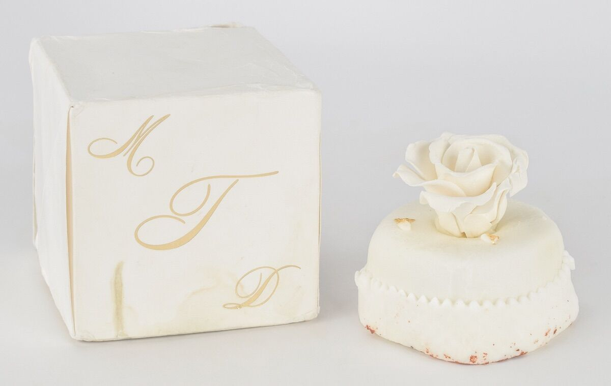 A miniature cake given to guests at Donald Trump's third wedding in 2005 and recently bought by artist Andres Serrano at RR Auction for $1,880. Courtesy RR Auction.