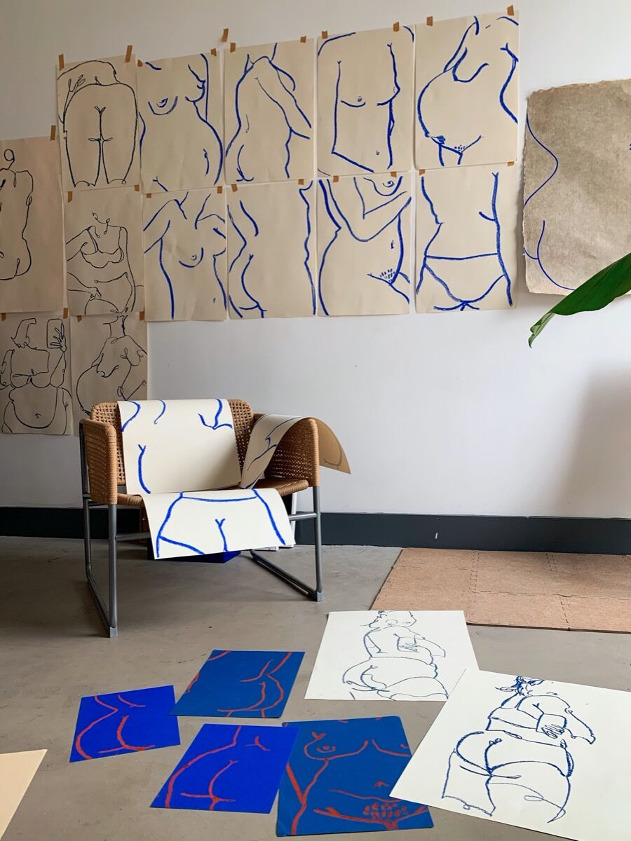 Laxmi Hussein, installation view of works in artist's studio. Courtesy of the artist.