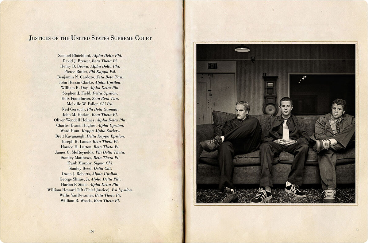 Andrew Moisey, image spread from The American Fraternity , 2000–2008. Courtesy of the artist.