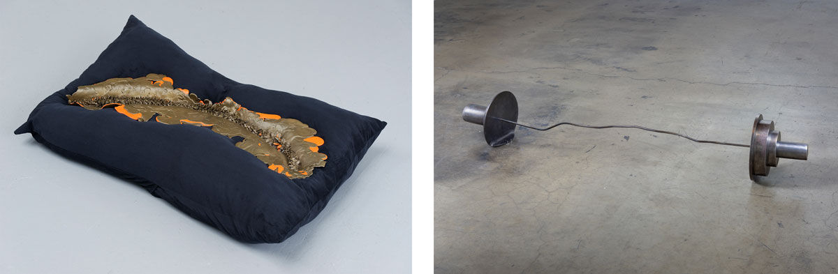 Left: Kelly Akashi, iiland, 2016; Right: Mitchell Syrop, Untitled (Barbell, from Giacometti's Bar Mitzvah), 2013. Photos courtesy of Ghebaly Gallery.