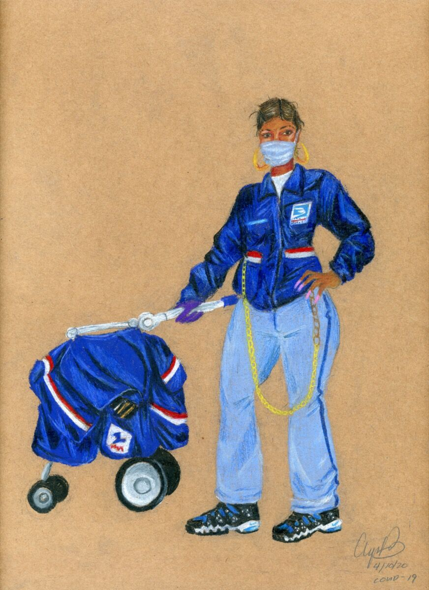 Aya Brown, USPS Worker, COVID-19, 2020. Courtesy of the artist.