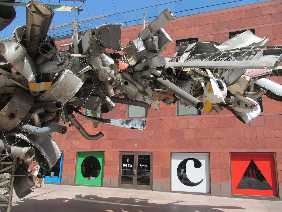 The Museum of Contemporary Art in Los Angeles, with a partial view of a public sculpture by Nancy Rubins. Photo by rocor, via Flickr.