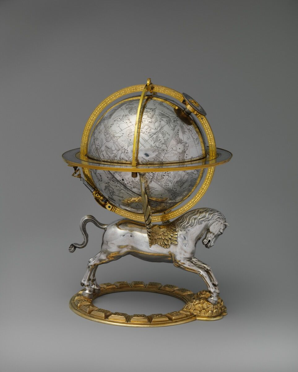 Gerhard Emmoser, Celestial globe with clockwork, 1579. Courtesy of the Metropolitan Museum of Art.