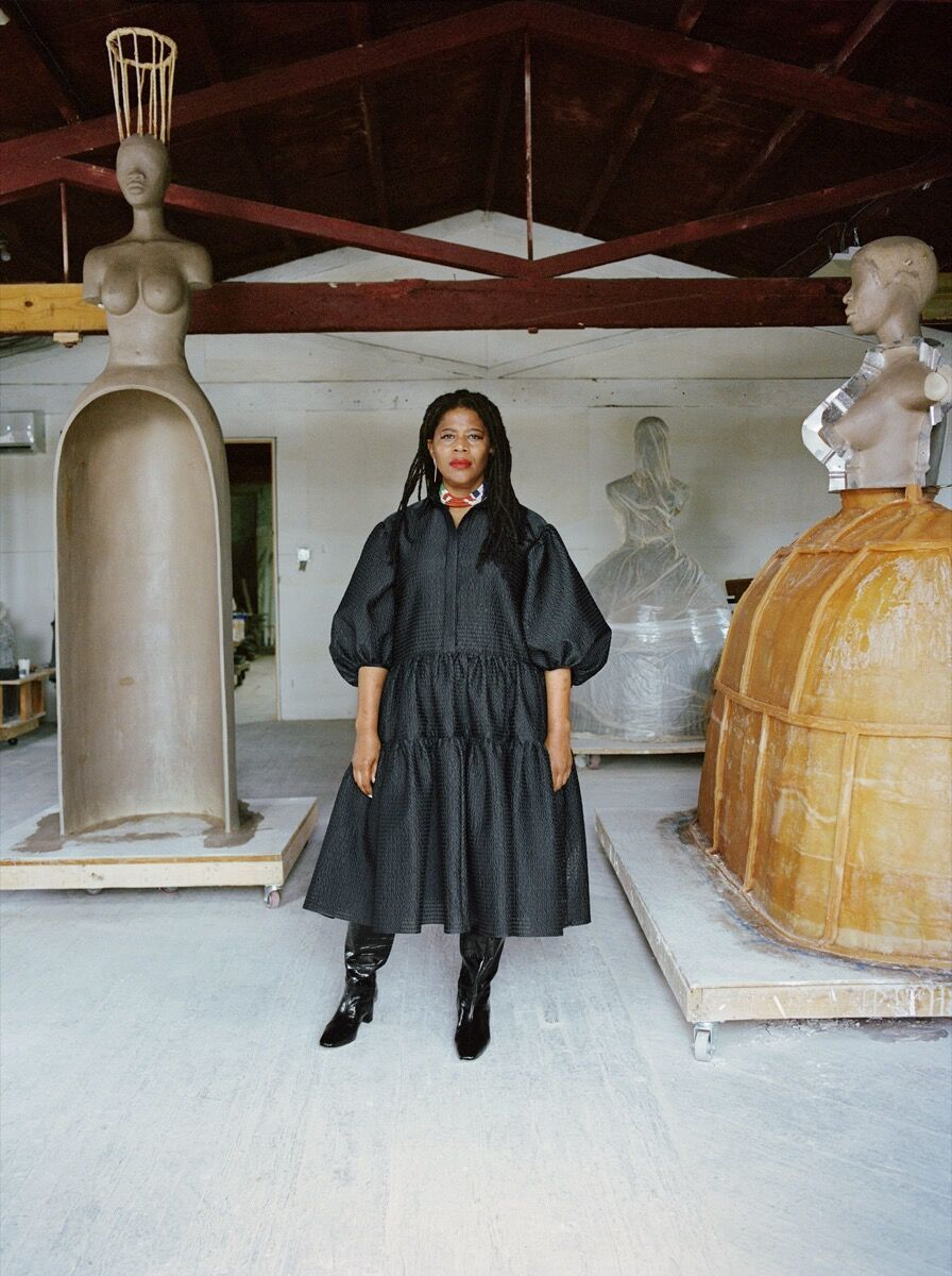 Portrait of Simone Leigh in her studio, 2020. © Simone Leigh. Photo by Shaniqwa Jarvis. Courtesy of the artist and Hauser & Wirth.