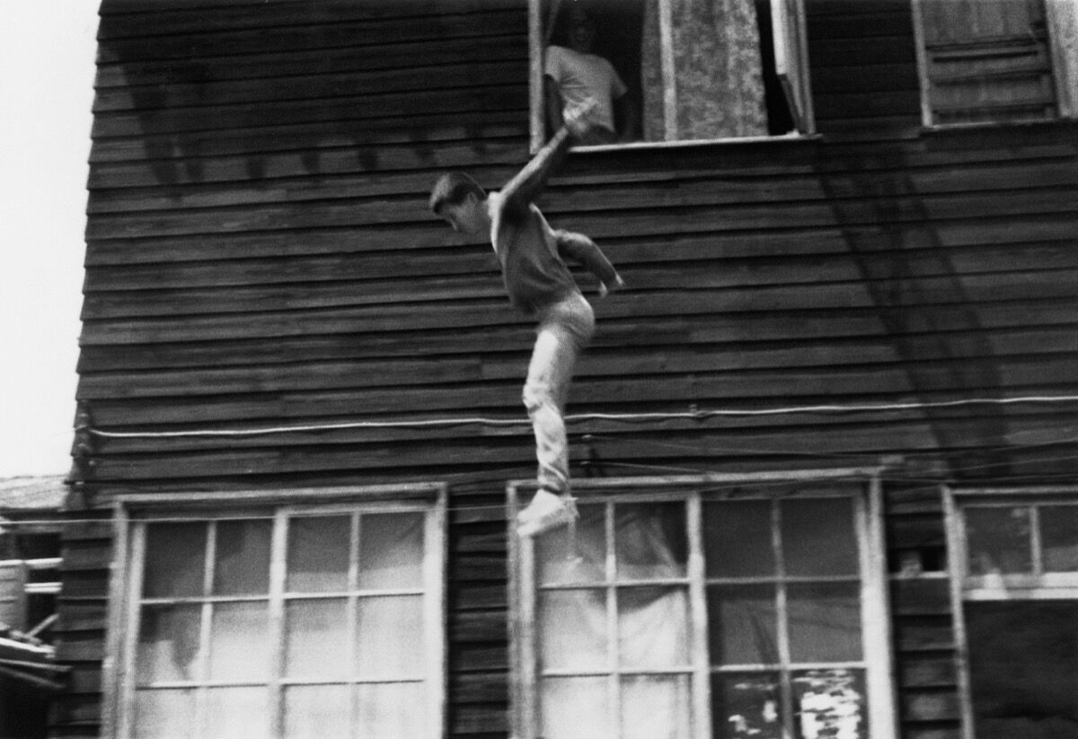 Tehching Hsieh, Jump Piece , Taiwan, 1973. Photo by Teh-Hsing Hsieh. © 1973 Tehching Hsieh. Courtesy of the artist and Sean Kelly, New York.
