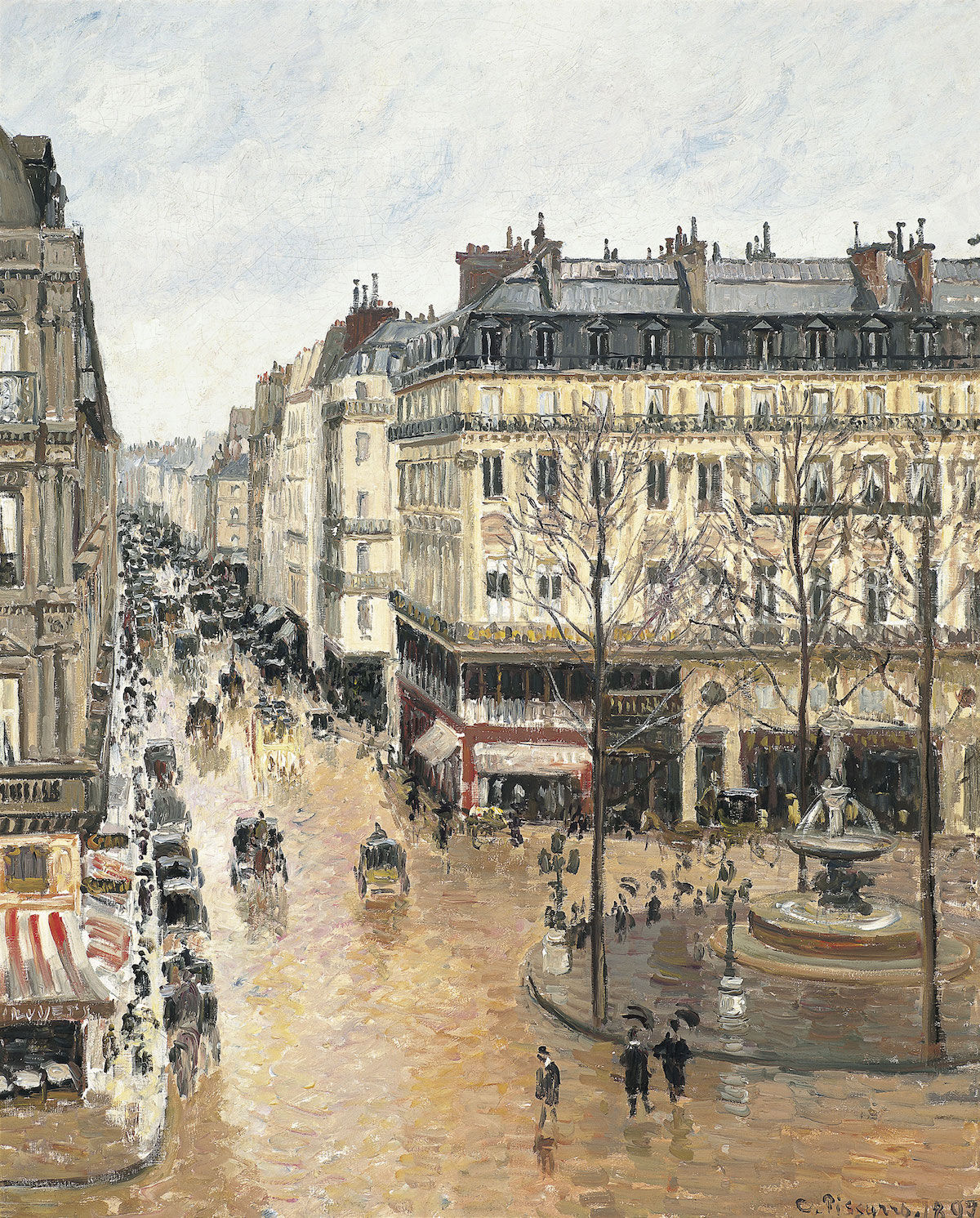 Camille Pissarro, Rue Saint-Honoré in the Afternoon. Effect of Rain, 1897. Via Wikimedia Commons.