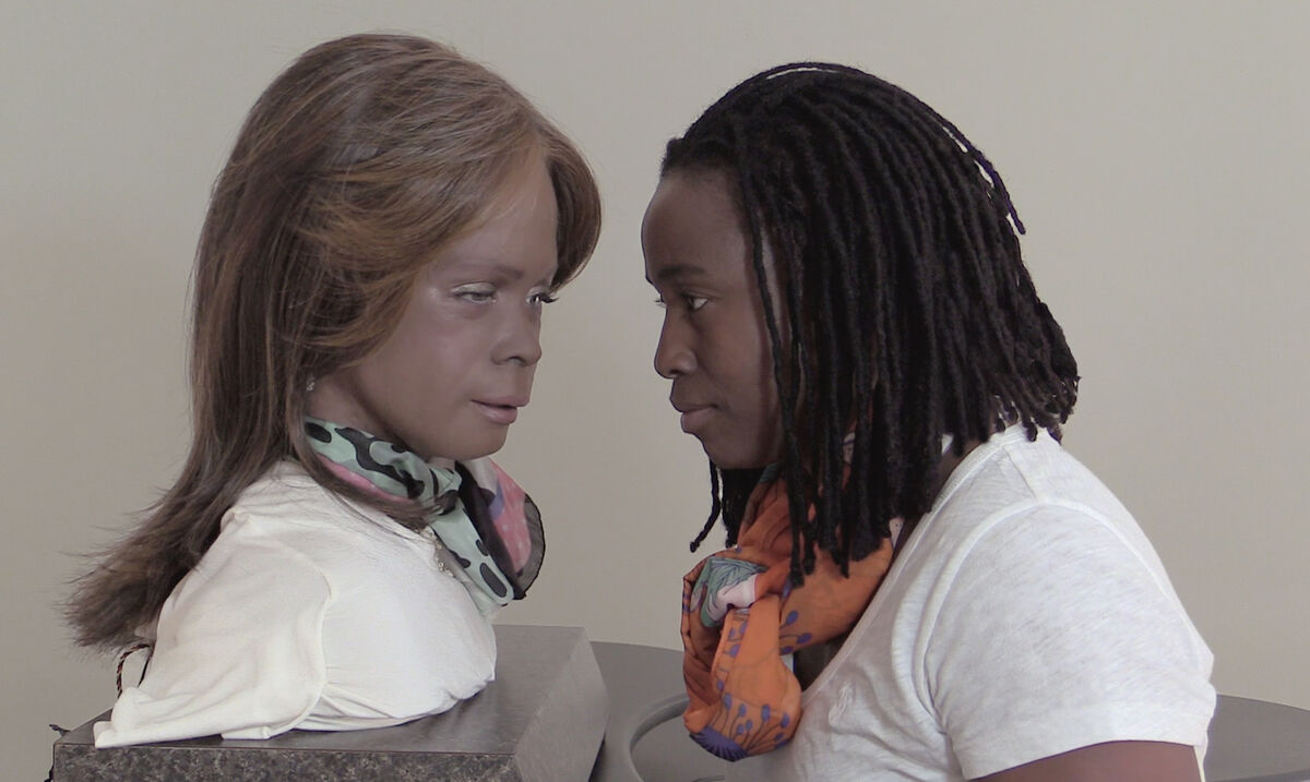 Still of Stephanie Dinkins, Conversations with Bina48, 2014-present. Courtesy of the artist.