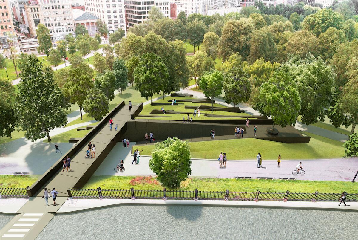 David Adjaye and Adam Pendleton with FuturePace's rendering of their proposed memorial. Courtesy MLK Boston)