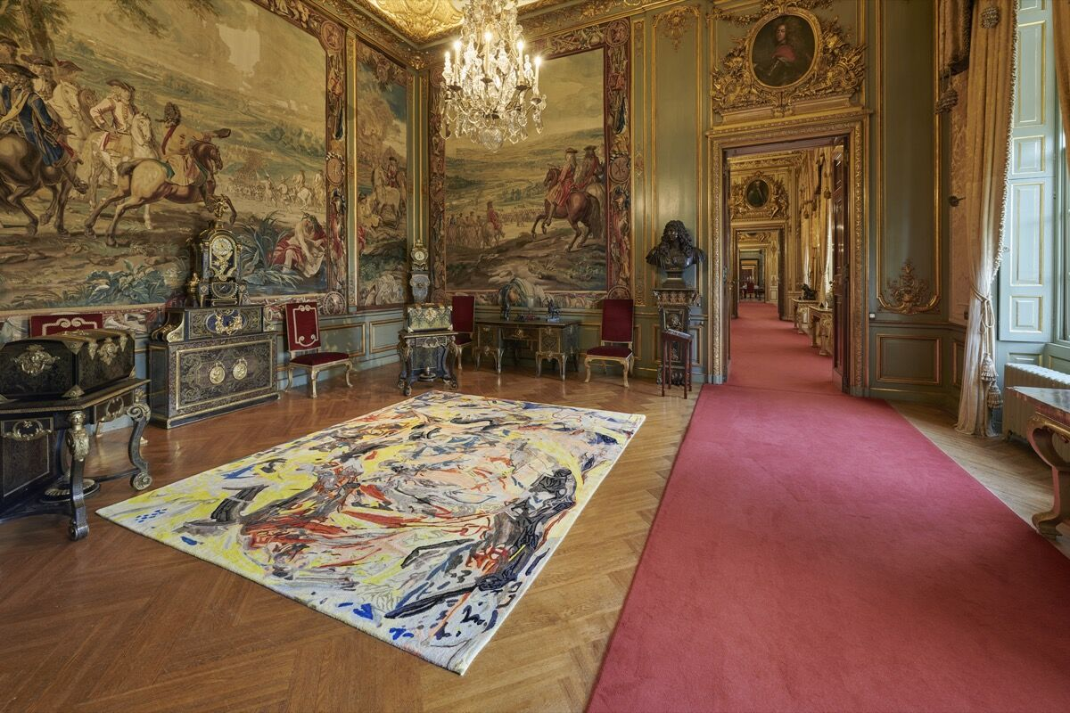 """Cecily Brown, installation view of Armorial Memento, Floored, 2020, in """"Cecily Brown at Blenheim Palace,"""" 2020. Photo by Tom Lindboe. Courtesy of Blenheim Art Foundation."""