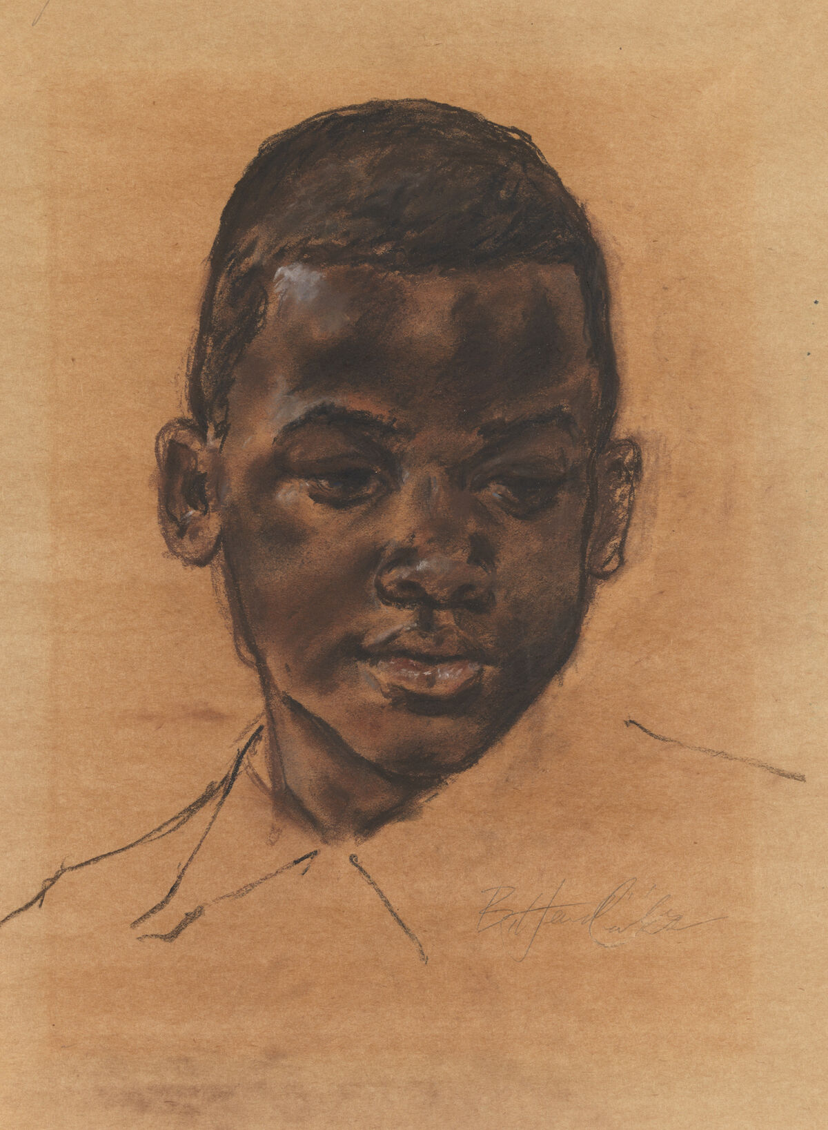 Barkley L. Hendricks, [Head of a boy], n.d., charcoal and pastel on paper. Courtesy the Pennsylvania Academy of Fine Arts.