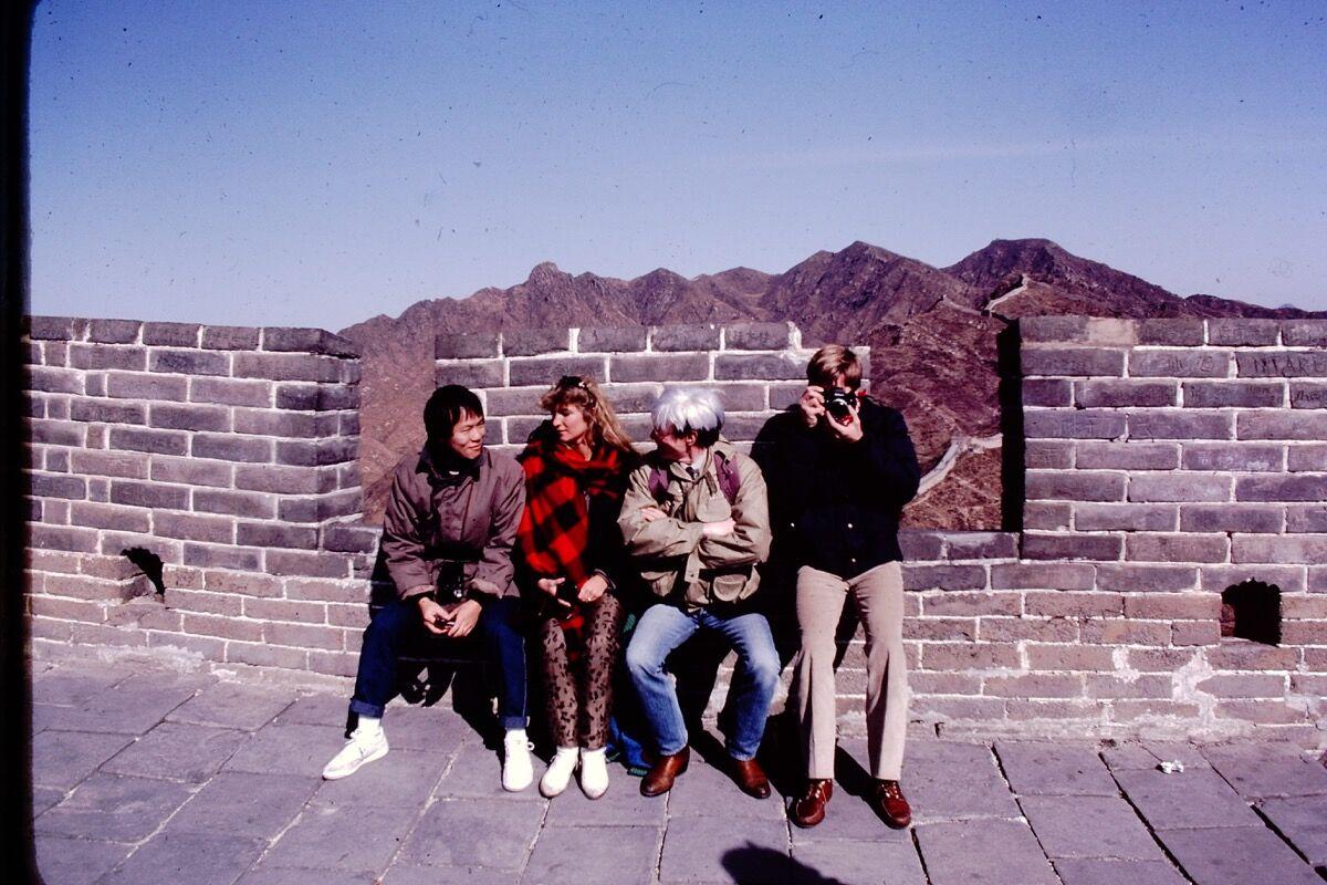 Alfred Siu, Natasha Grenfell, Andy Warhol, and Christopher Makos at the Great Wall. Photo © John Alper.