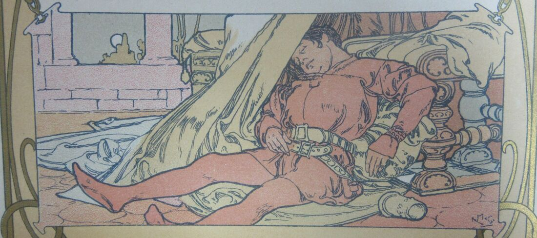The elder Prince Jaufre, asleep under a table.