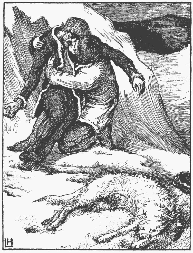 Illustration by Laurence Housman from Clemence Housman's The Were-Wolf, 1896. Photo via Project Gutenberg.