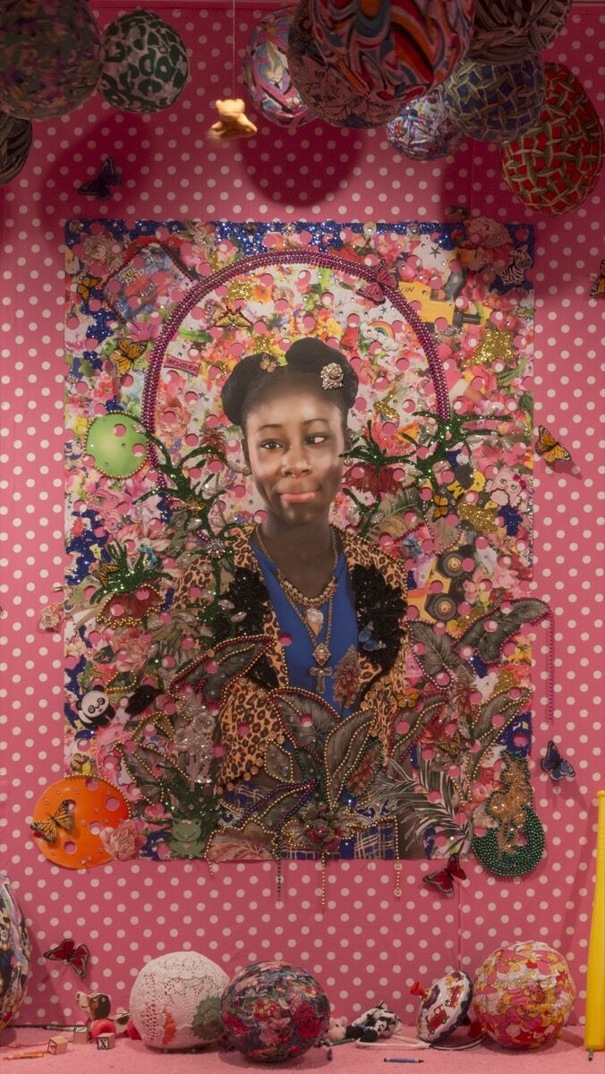 "Installation view of Ebony G. Patterson, 18, 2016 , in "". . . when they grow up . . .,"" at The Studio Museum Harlem, 2016. Courtesy of the artist and Monique Meloche Gallery, Chicago."