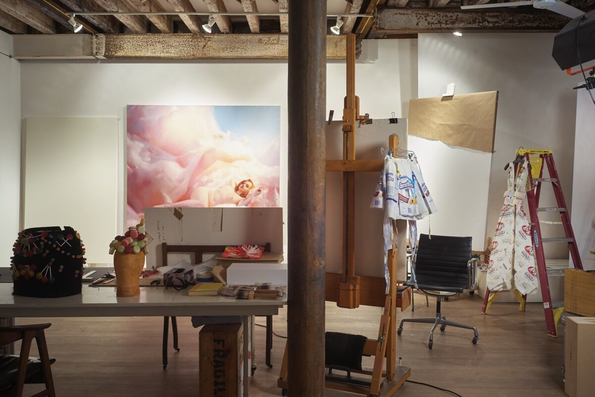 Will Cotton's Tribeca studio. Photo by Alex John Beck for Artsy.