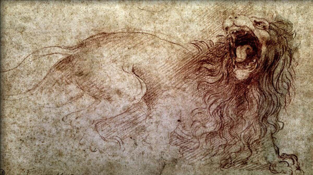 Roaring lion sketch by Leonardo da Vinci.