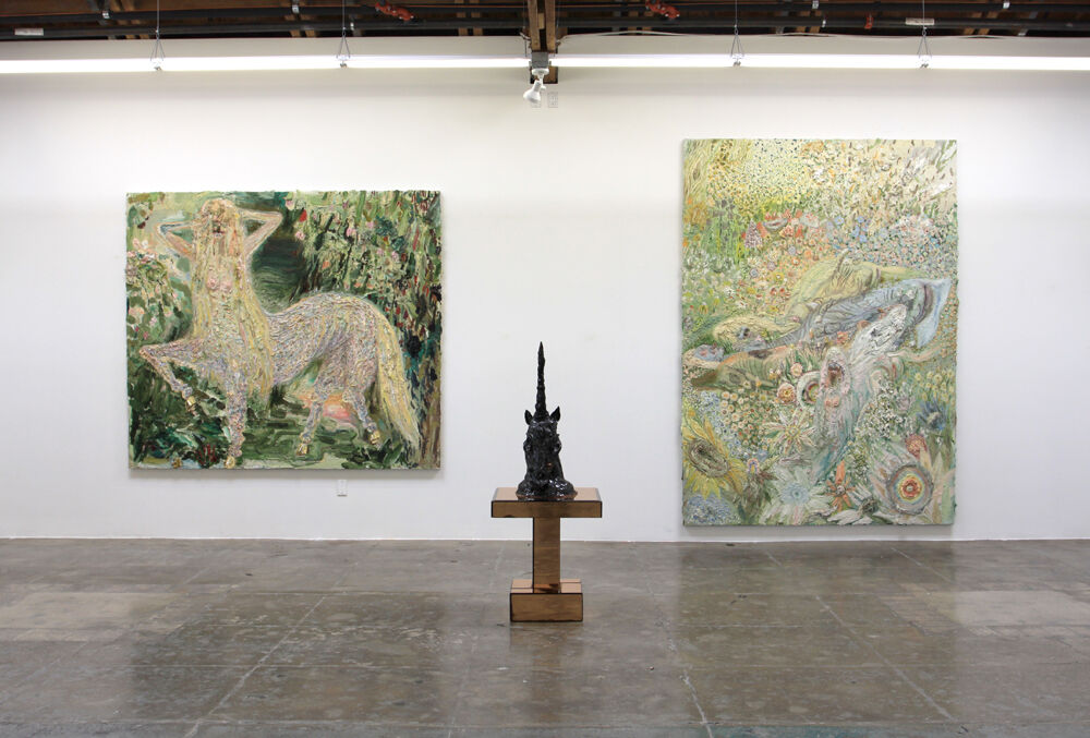 "Installation view of ""Allison Schulnik: Hoof"" at Mark Moore Gallery, Los Angeles. Courtesy of Mark Moore Gallery and the artist."