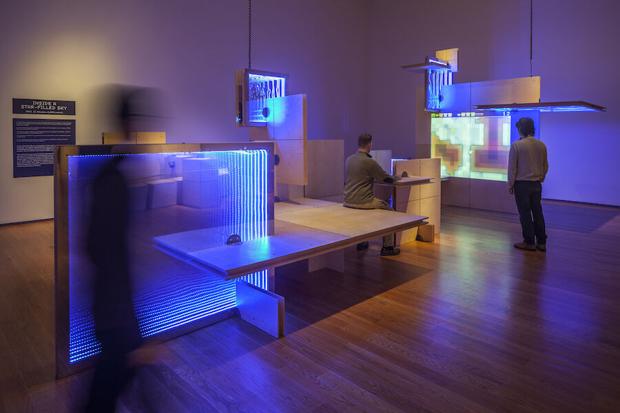 """Installation view of""""The Game Worlds of Jason Rohrer"""" courtesy of the Davis Museum. Photo by Benjamin Kou."""