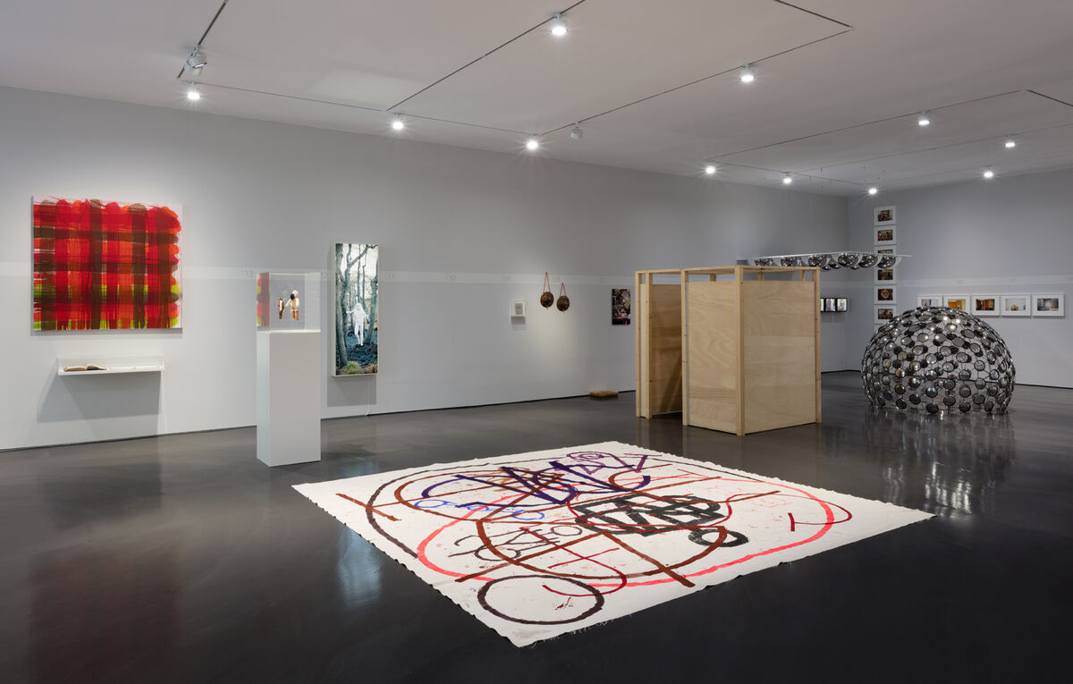 """Installation view of work by AA Bronson and General Idea for """"Catch me if you can!"""" at Esther Schipper, Berlin, 2018."""