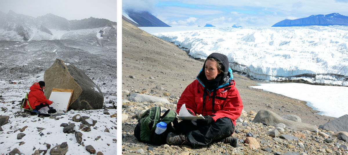 Left: A&W participant Elise Engler paints the landscape at Lake Hoare in the McMurdo Dry Valleys. Courtesy of Elise Engler/ NSF; Right: A&W participant Lily Simonson sketches in the McMurdo Dry Valleys, January 2015. Photo courtesy of Peter Rejeck / NSF.