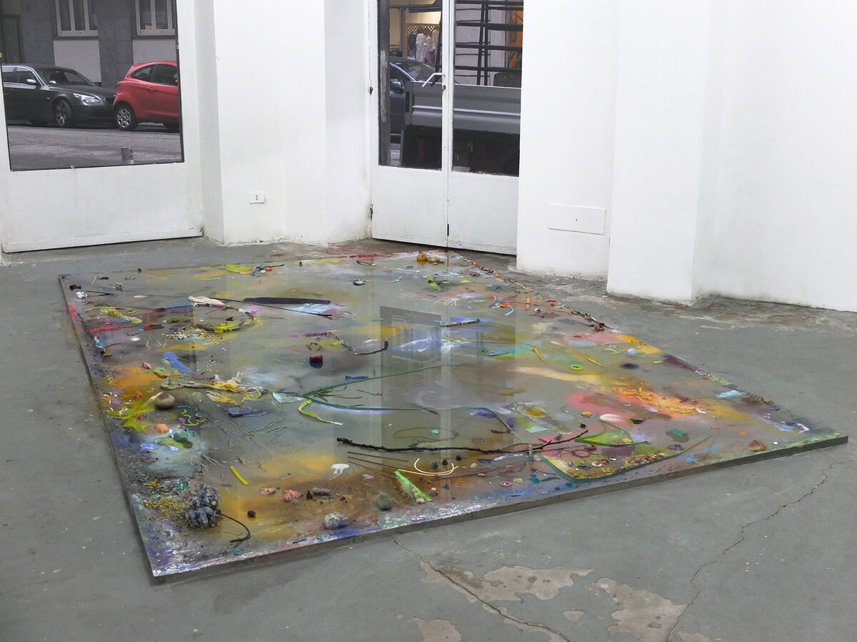 Installation view ofSamara Scott, Lonely Planet I, 2014 at Almanac Inn, Turin. Photoby Nadia Pugliese.Courtesy The Sunday Painter.