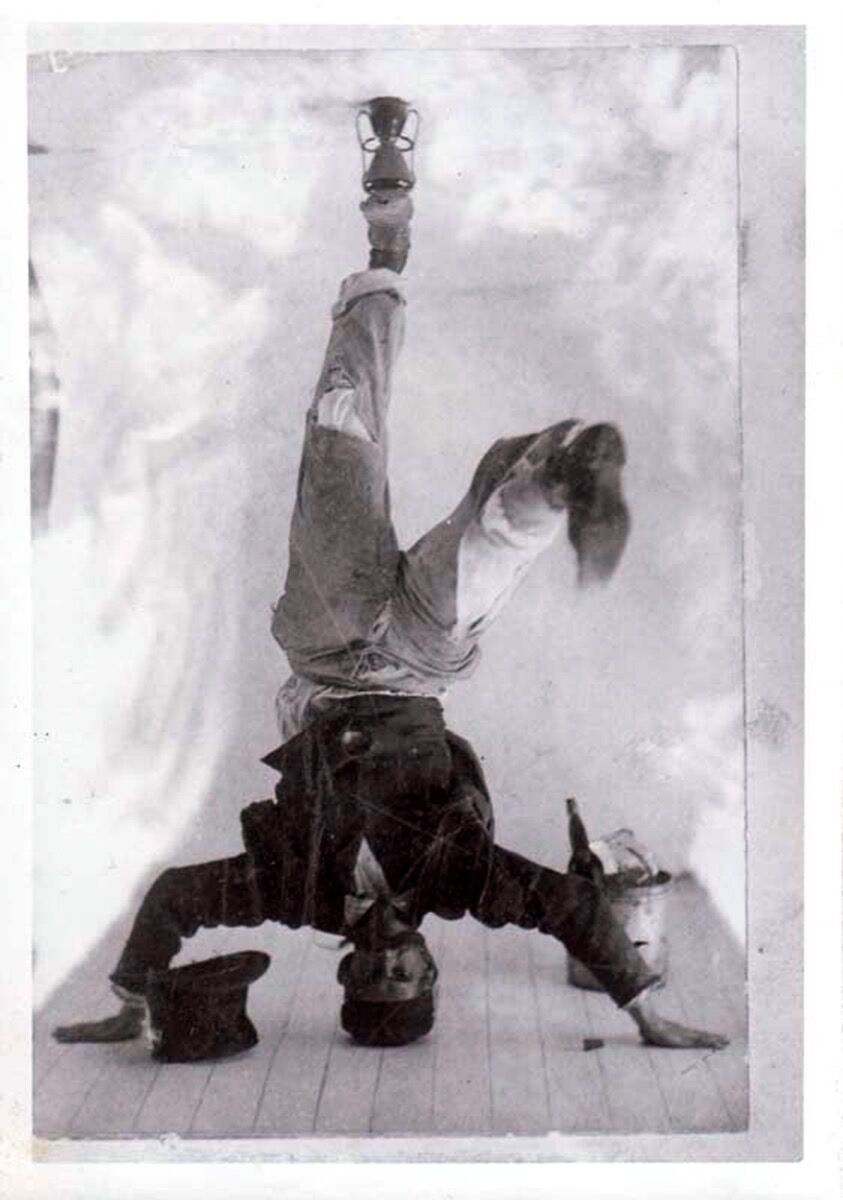 Ohr standing on his head. Courtesy of the Ohr-O'Keefe Museum of Art, Biloxi, Mississippi.
