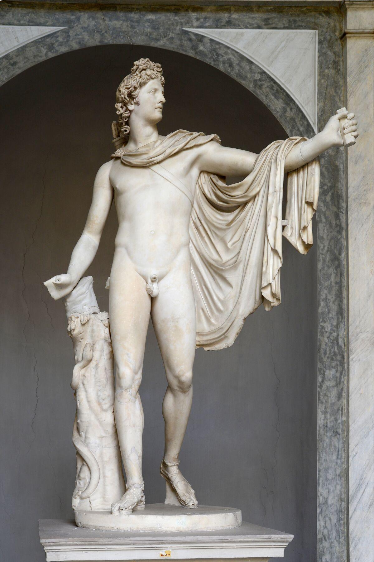 Copy of sculpture after Leocharces, Apollo de Belvedere, c. 120-140 A.D., at the Pius-Clemente Museum, Vatican. Photo via Wikimedia Commons.
