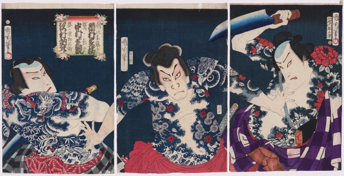 Toyohara Kunichika. Actors Ichimura Kakitsu IV as AsahinaTobei, Nakamura Shikan IV as Washi no Chokichi, and Sawamura Tossho II as Yume no Ichibei , 1868. Photo © Museum of Fine Arts, Boston. Courtesy of the Museum of Fine Arts, Boston, William Sturgis Bigelow Collection.