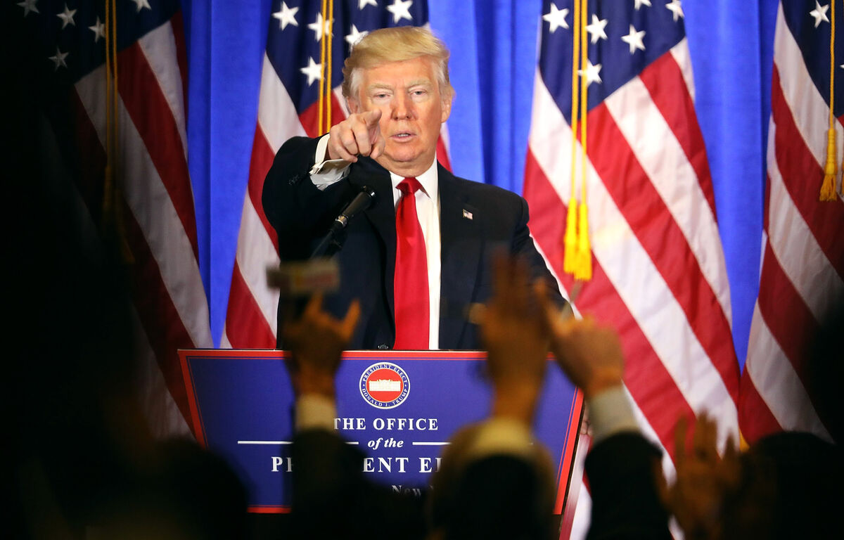 NEW YORK, NY - JANUARY 11: President-elect Donald Trump speaks at a news conference at Trump Tower on January 11, 2017 in New York City. This is Trump's first official news conference since the November elections. (Photo by Spencer Platt/Getty Images)