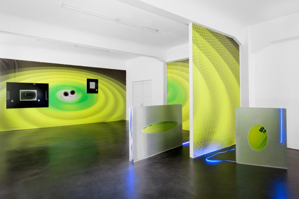 """Installation view of """"Luca Pozzi: Discovery and Premonitions"""" at Alexander Levy, Berlin. Photo courtesy of Alexander Levy."""